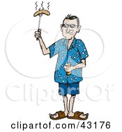 Clipart Illustration Of A Man Holding Up A Weenie On A Poker by Dennis Holmes Designs