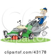 Clipart Illustration Of A Man Pushing A Hungry Green Lawn Mower