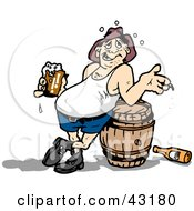 Clipart Illustration Of A Drunk Man With A Belly Drinking And Leaning Against A Keg by Dennis Holmes Designs