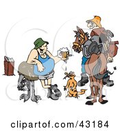 Clipart Illustration Of A Drunk Man With An Emu Lizard And Another Man On A Horse by Dennis Holmes Designs