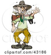 Clipart Illustration Of A Stinky Homeless Australian Man Waving