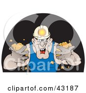 Strong Miner Wearing A Headlamp And Holding Dirt In A Dark Cave