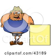 Fat Man Standing And Holding Up A Blank Yellow Sign