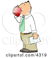 Businessman Holding A Letter And Drinking A Cup Of Coffee Clipart