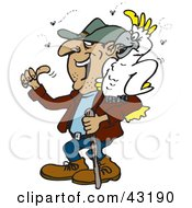 Clipart Illustration Of A Smelly Hiker With A Cockatoo On His Shoulder