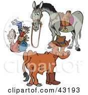 Clipart Illustration Of A Cow And Horse With A Tied Up Cowboy by Dennis Holmes Designs