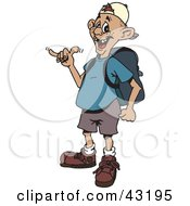 Clipart Illustration Of A Cool Man Gesturing The Shaka Sign And Wearing A Backpack by Dennis Holmes Designs