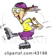 Clipart Illustration Of An Energetic Girl Roller Blading by Dennis Holmes Designs
