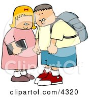 Brother And Sister On Their Way To Elementary School Clipart