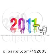 Royalty Free RF Clipart Illustration Of A Stick Man Painter With A Dripping Colorful 2011 by NL shop