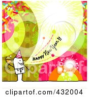 Royalty Free RF Clipart Illustration Of A Stick Man Holding Champagne And Shouting Happy New Year On A Colorful Background by NL shop