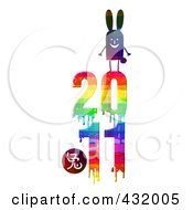 Royalty Free RF Clipart Illustration Of A Rabbit On Top Of A Dripping Colorful 2011 For The Chinese Year Of The Rabbit by NL shop