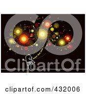 Royalty Free RF Clipart Illustration Of A Stick Man Shouting Happy New Year Under Fireworks On Black