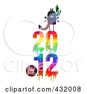 Royalty Free RF Clipart Illustration Of A Dragon On Top Of A Dripping Colorful 2011 For The Chinese Year Of The Dragon by NL shop