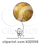Royalty Free RF Clipart Illustration Of A Stick Man Holding A Round Gold New Year Balloon by NL shop