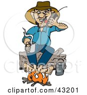 Clipart Illustration Of A Man Sitting On A Log And Warming His Feet By A Campfire While Talking On A Cell Phone