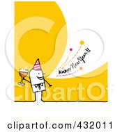 Royalty Free RF Clipart Illustration Of A Stick Man Holding Champagne And Shouting Happy New Year On A Yellow Background by NL shop