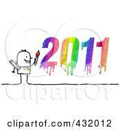 Royalty Free RF Clipart Illustration Of A Stick Man Artist With A Dripping Colorful 2011 by NL shop