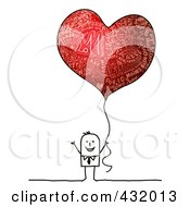 Royalty Free RF Clipart Illustration Of A Stick Man Holding A Red Heart Shaped New Year Balloon by NL shop