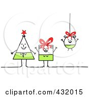 Royalty Free RF Clipart Illustration Of A Triangle Square And Round Stick Family With Bows And A String