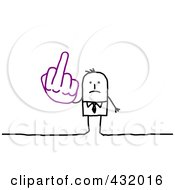 Royalty Free RF Clipart Illustration Of A Stick Businessman Holding Up A Middle Finger