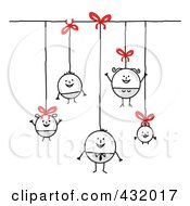 Royalty Free RF Clipart Illustration Of A Round Stick Family Hanging From Strings And Bows