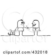 Royalty Free RF Clipart Illustration Of A Blind Man With A Service Dog Shaking Hands With A Businessman