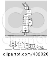 Royalty Free RF Clipart Illustration Of A Digital Collage Of A Square Stick Family And Pets In A Line And Piled