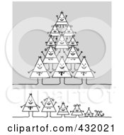 Royalty Free RF Clipart Illustration Of A Digital Collage Of A Happy Triangle Family In A Pyramid And In A Row