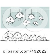 Royalty Free RF Clipart Illustration Of A Digital Collage Of A Happy Cloud Family Hanging And In A Row