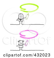 Royalty Free RF Clipart Illustration Of A Digital Collage Of A Stick Man And Woman With Green And Pink Ovals by NL shop