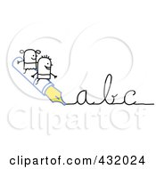 Royalty Free RF Clipart Illustration Of A Stick Boy And Girl Riding On An Ink Pen Writing Abc In Cursive by NL shop
