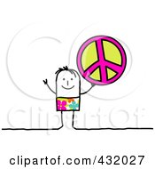 Royalty Free RF Clipart Illustration Of A Stick Man Holding Up A Peace Symbol
