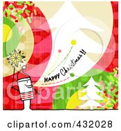Royalty Free RF Clipart Illustration Of A Stick Man Holding A Star And Shouting Happy Christmas On A Colorful Background