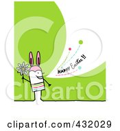 Stick Man Holding A Flower And Wearing Bunny Ears And Shouting Happy Easter On A Green Background