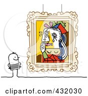 Royalty Free RF Clipart Illustration Of A Stick Man Admiring Picasso Styled Art In A Museum