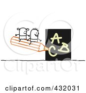 Royalty Free RF Clipart Illustration Of A Stick Boy And Girl Sitting On A Pencil Writing The ABCs by NL shop