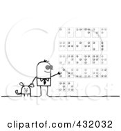 Royalty Free RF Clipart Illustration Of A Blind Man With A Service Dog Reading Braille