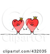 Royalty Free RF Clipart Illustration Of A Stick Heart Couple King And Queen by NL shop