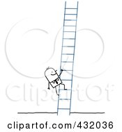 Royalty Free RF Clipart Illustration Of A Stick Businessman Climbing A Ladder