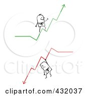 Royalty Free RF Clipart Illustration Of A Digital Collage Of Stick Men Walking On And Hanging From Increase And Decline Arrows
