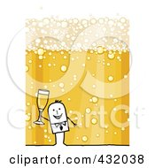 Royalty Free RF Clipart Illustration Of A Stick Man Toasting With A Bubbly Champagne Background