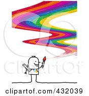 Royalty-Free (RF) Clipart Illustration of a Stick Man Artist Painting A Rainbow Curve by NL shop