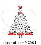 Happy Triangle Family Forming A Pyramid