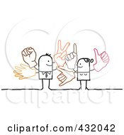 Royalty Free RF Clipart Illustration Of A Stick Business Man And Woman With Multiple Hand Gestures