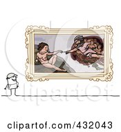 Royalty Free RF Clipart Illustration Of A Stick Man Admiring Creation Art In A Museum by NL shop