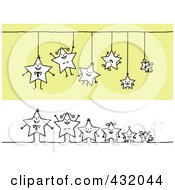 Royalty Free RF Clipart Illustration Of A Digital Collage Of A Happy Star Family Hanging And In A Row