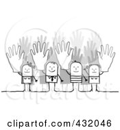 Royalty Free RF Clipart Illustration Of A Stick Business Team Holding Up Their Hands