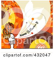 Royalty Free RF Clipart Illustration Of A Stick Man Holding Pumpkins And Shouting Happy Halloween On A Colorful Background by NL shop