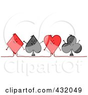 Royalty Free RF Clipart Illustration Of A Line Of Happy Playing Card Suit Shapes A Diamond Spade Heart And Club
